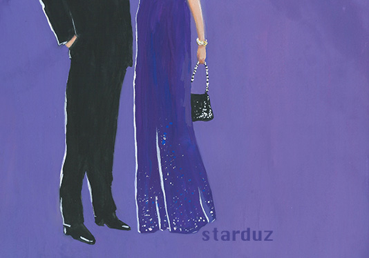 illustration of a Couple at a Cocktail Party